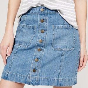 Loft Button Front Denim Mini Skirt